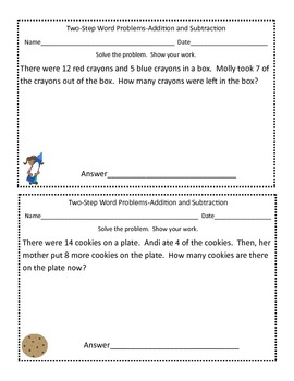 Two-Step Word Problems Addition and Subtraction within 20