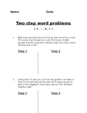 Two Step Word Problems / All operations