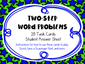 Two-Step Word Problems Math Task Cards