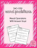 Two-Step Word Problems - Mixed Operations WITH Answer Key