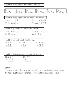 Two Step Word Problems Quiz