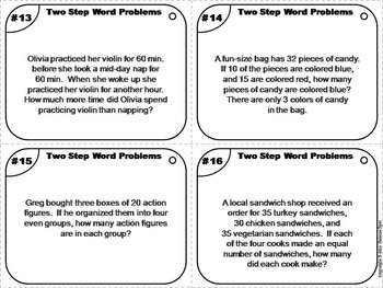 Two Step Word Problems Task Cards/ 2 Step Word Problems Task Cards 3rd 4th 5th