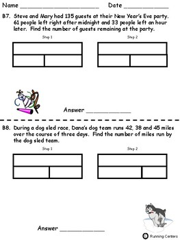 Two-Step Word Problems 2 Step Bar Models - January Themed Math Problem Solving