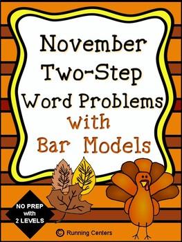 Two-Step Word Problems 2 Step Bar Models - November Themed Math Problem Solving