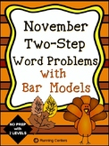 Two-Step Word Problems 2 Step Bar Models - November Themed