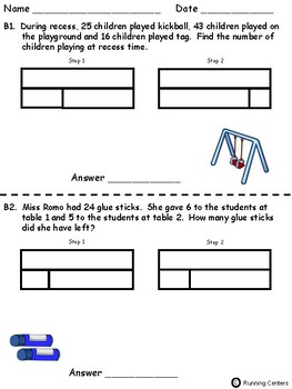 Two-Step Word Problems Using Bar Models - September Themed Math Problem Solving