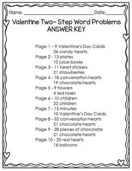 Two-Step Word Problems - Valentine's Day Themed