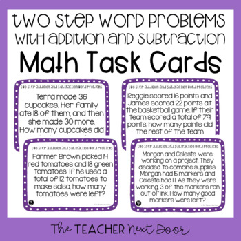Two Step Word Problems with Addition and Subtraction Task Cards for 3rd Grade