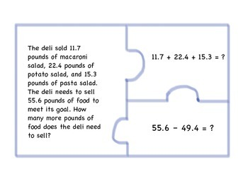 Two-Step Word Problems with Decimals Puzzle Pieces