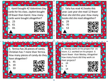 Two Step Word Problems with Missing Addends (QR Codes)