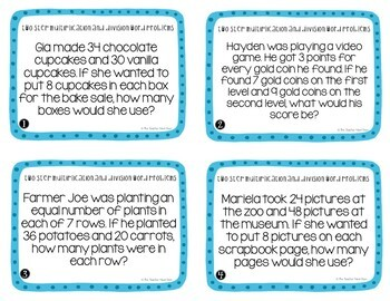 Two Step Word Problems with Multiplication and Division Task Cards 3rd Grade