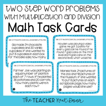 3rd Grade Two Step Word Problems With Multiplication And Division Task Cards