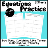 Two-Step and Multi-Step Equations Practice