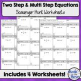 Two Step and Multi-Step Equation Scavenger Hunt Worksheets