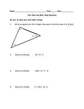 Two-Step and Multi-Step Equations Assessment