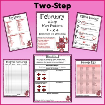 Two Step and Single Step Word Problems Bundle (February Edition)