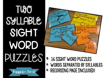 Two Syllable Sight Word Puzzle