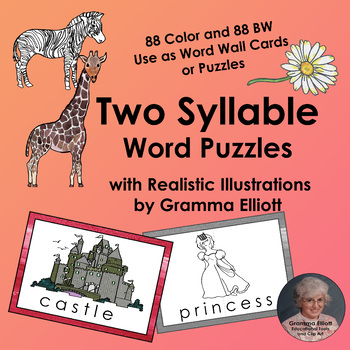 Two Syllable Word Puzzles for Word Wall Cards and Flash Cards - Color and BW