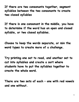 Two Syllable Words VC/CV  V/CV and   VC/V words