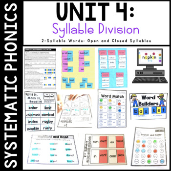 Systematic Phonics 3: Syllable Division 2 Syllable Words (Open and Closed)