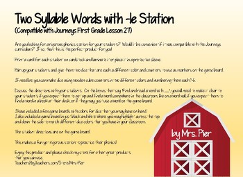 Two Syllable Words -le Station (Compatible with Journeys First Grade Lesson 27)