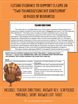 Two Thanksgiving Day Gentlemen: Cite Textual Evidence