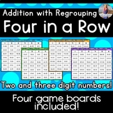 Two & Three Digit Addition Game WITH Regrouping [Four in a Row]