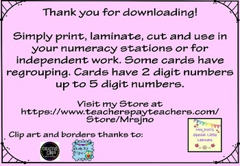 Two, Three, Four and Five Digit Addition and Subtraction Cards
