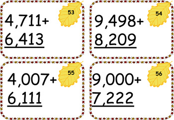 Two, Three, Four and Five Digit Addition and Subtraction Cards ~ Fall Theme