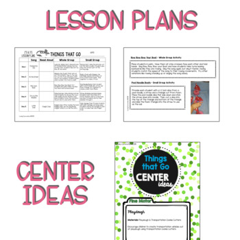 Two & Three's THINGS THAT GO Lesson Plans