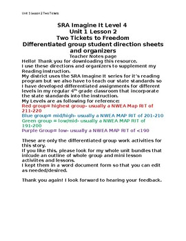 Two Tickets to Freedom differentiated activities