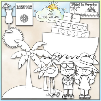 Two Tickets to Paradise - CU Clip Art & B&W Set