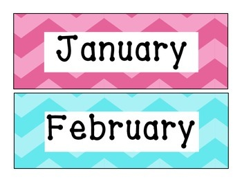 Two Tone Chevron Months of the Year Signs