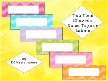Two Tone Chevron Name Tags and Labels