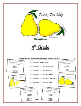 """Two & Too Alike"" 4th grade Homophone Game Common Core"