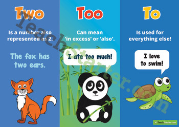 Homophones - Two, Too & To Poster