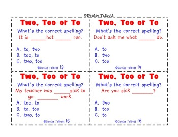 Homophones  Two Too and To Task Cards