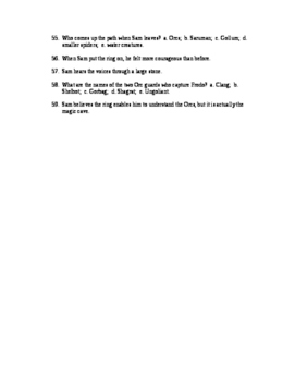 Two Towers Reading Check Test/Quiz