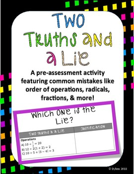 Two Truth & a Lie Pre-assessment of Common Algebra Mistakes