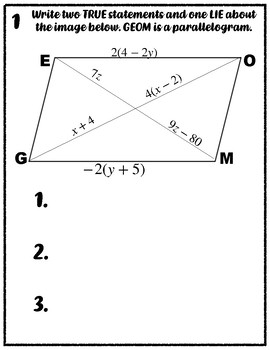 Two Truth and a Lie: Parallelograms, Rectangle, Rhombi, and Squares