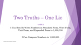 4th Grade Common Core Math - Two Truths - One Lie Place Value - 4.NBT.2