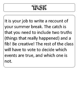 Two Truths and a Fib! First Day of School/ Summer Break Recount Writing Activity