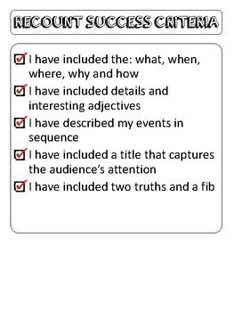 Two Truths and a Lie - March Break Recount Activity