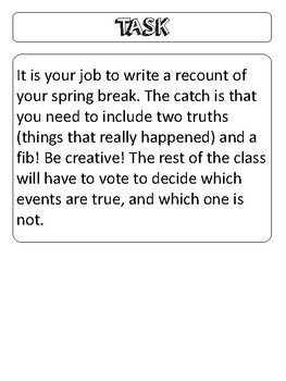 Two Truths and a Fib- Spring Break Recount Activity