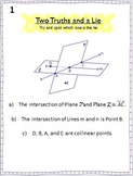Two Truths and a Lie Activity - Points, Lines, & Planes