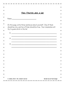Two Truths and a Lie - Back to School Freebie!