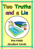 Two Truths and a Lie Back to School or End of Year Fun, Pr