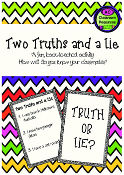 Two Truths and a Lie - Ice Breaker - First Day of School -