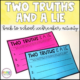 Two Truths and a Lie Icebreaker Activity (Distance Learning)