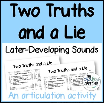 Two Truths and a Lie: Later-Developing Sounds Bundle